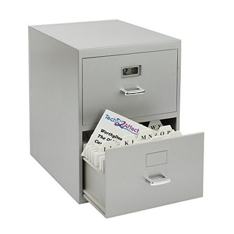 Mini Filing Cabinet Business Card Holder with Digital Clock
