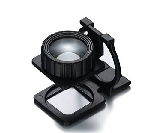 20X Magnification - Portable Metal Foldable Magnifier - With Stand and Measuring Scale - Magnifying Glass Lens Loupe