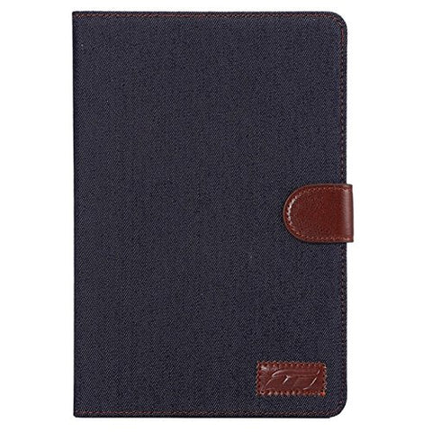 Black Denim iPad mini 4 Case Cover with Card Slots & Holder & Wallet & Sleep / Wake-up Function