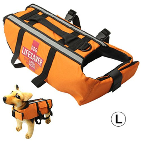 Dog Life Vest Jacket for Swimming Boating Surfing - High Visibility Orange Canine Pet Flotation Device - Chest: 83-95 cm