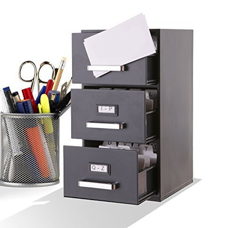 Business Card Filing Cabinet Mini Desktop - 9 inch High Black 3 Drawer Desktop Card Holder for Business Cards (85mm x 55mm)