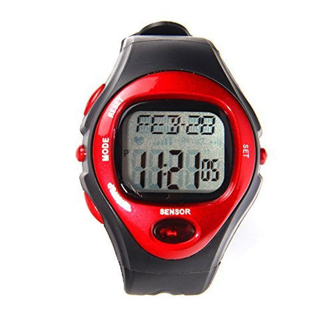 Heart Rate Pulse Wristwatch, Sports Exercise Fitness Watch - Calories, Alarm clock, Day, Date and Stopwatch - RED