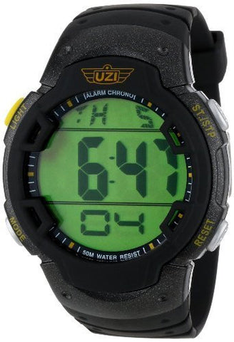 UZI Wristwatch - Men's Digital Watch in Black with Rubber Strap with Day, Date, Alarm and stopwatch- Water resistant to 50M with Backlight and large digits