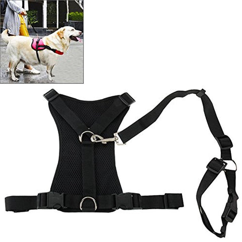 NON-PULL DOG HARNESS BLACK Protective Walking Pet Harness chest 64cm-84cm - Anti-pull