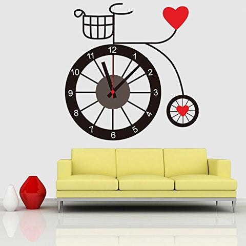 Creative Bicycle Style DIY Penny Farthing Style Wall Sticker Clock Home Decoration