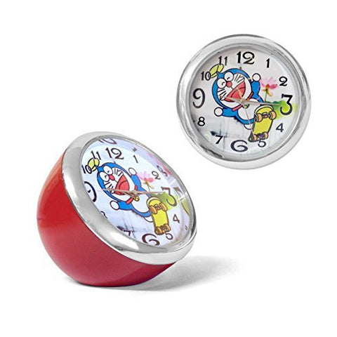 Cute 4cms round (Half-ball) Cartoon Mini Table/Bedside clock - Robot Cat with propeller hat on Skateboard - Holographic Love Hearts - Metal - Red