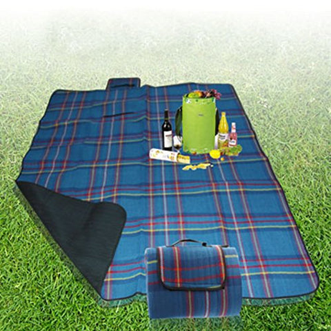Large Picnic Blanket with Waterproof Backing 200 x 150 cm folding Blue Check - Ideal Outdoor Beach Mat Festivals etc.