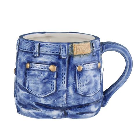 Mug - Blue Jeans Single Novelty cup - Unique Novelty Tea or Coffee Mug Looks Like Denim Jeans - Fun Gift for Him or Her (Blue)