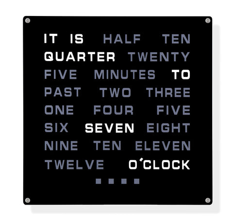 LED Word Wall Clock Large 12 inch Square - Silent Clock - Tickless LED Word Clock - A clock that displays the time in text Novelty Timepiece