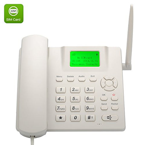 TechAffect® SIM Telephone Wireless Desk Phone White - Quadband, Rechargeable Battery, Caller ID, Redial, Hands Free Functions. An old fashion handset phone that works the same as an unlocked mobile phone.