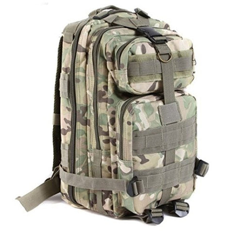 TechAffect ® Camouflage Backpack for Camping Hiking Beach Walking etc. Military Style Army Green / Khaki Cam Rucksacks