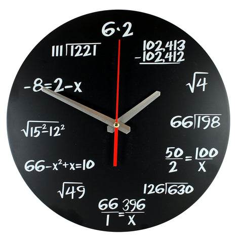 Maths Clock - Unique Wall Clock - Each Hour Marked By a Simple Math Equation - quartz clock - Novelty Timepiece