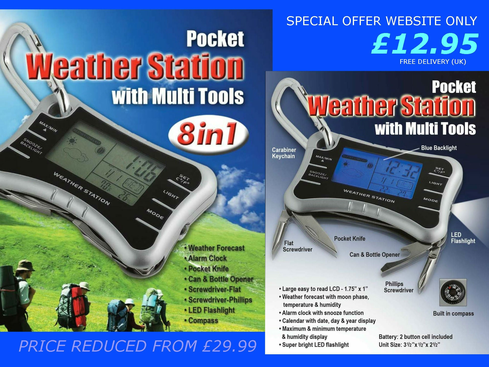Pocket Weather Station with Multi Tools