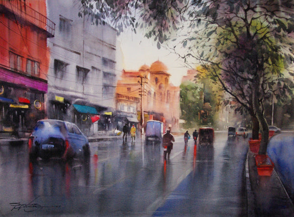 Dyal Singh College, Watercolor on paper cityscape painting by Sarfraz Musawir (30 x 22 in)