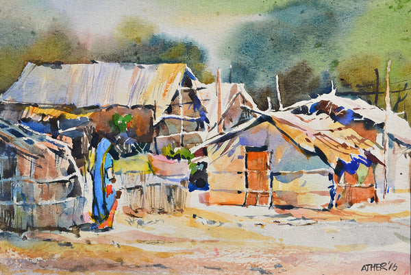 Untitled, Watercolor on paper landscape painting by Ather Jamal (10 x 7 in)