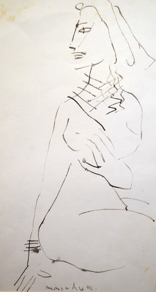 Untitled 1986, Brush on paper figurative drawing by Mansur Aye
