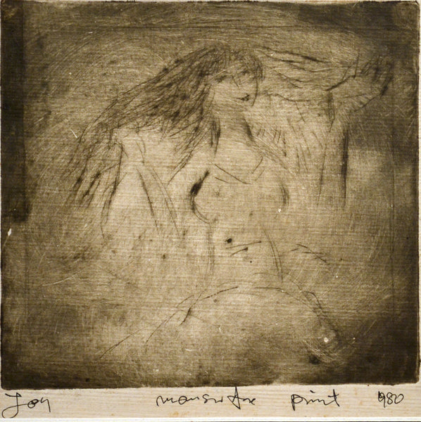 Untitled 1980, Etching on paper figurative drawing by Mansur Aye (5 x 5 in)