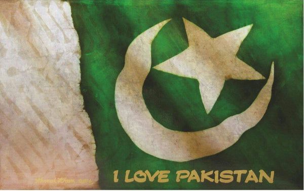 I Love Pakistan, Inks and Treated Silver on Canvas Board abstract painting by Ahmed Khan (24 x 38 in)