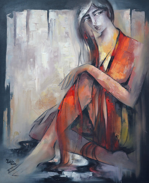 Untitled, Oil on canvas figurative painting by Sajida Hussain (33 x 27 in)