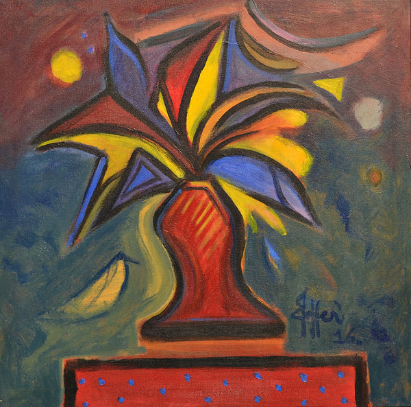 Untitled, Acrylic on canvas still life painting by Wahab Jaffer (25 x 25 in)