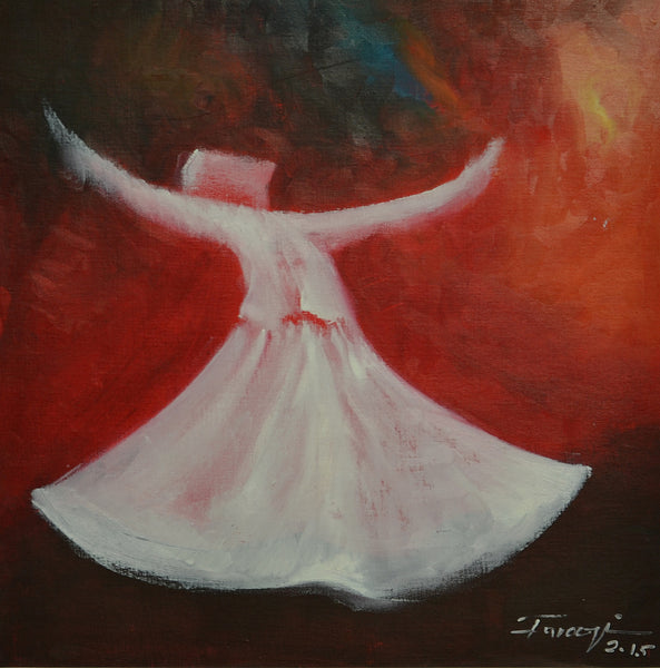 Untitled, Oil on canvas figurative painting by Shafique Farooqi (16 x 16 in)