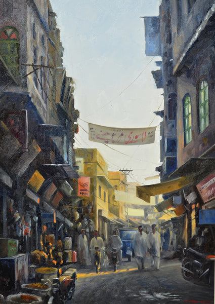 Untitled, Oil on canvas cityscape painting by Zulfiqar Ali Zulfi (42 x 30 in)