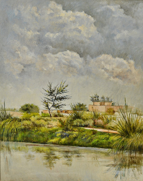 Untitled, Oil on canvas landscape painting by Nazir Ahmed (30 x 24 in)