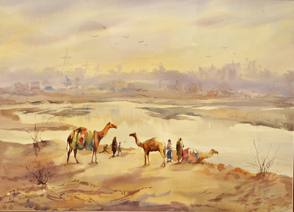 Untitled, Watercolor on paper landscape by M Kazmi Syed (28 x 20 in)