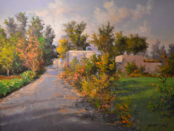 Untitled, Oil on canvas landscape painting by Ajab Khan (28 x 22 in)