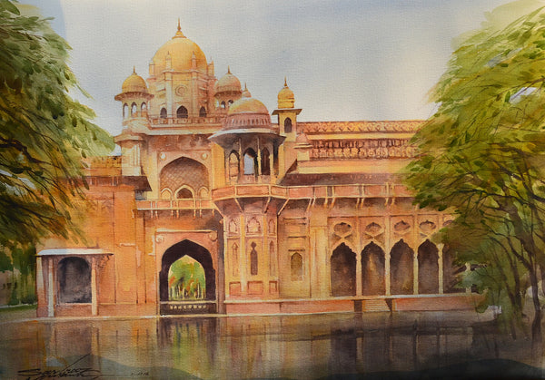 Aitchison College Lahore, Watercolour on paper cityscape painting by Sarfraz Musawir (30 x 22 in)