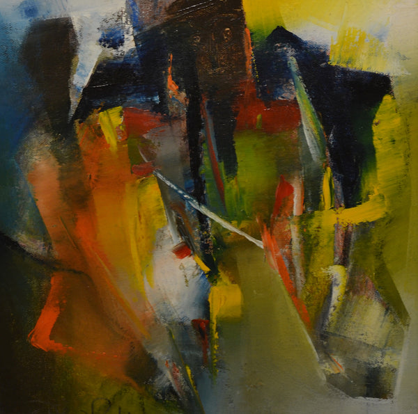 Stimulation I, Oil on canvas abstract painting by Riaz Rafi (12 x 12 in)