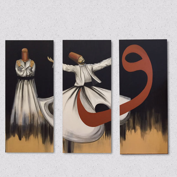 Rumi's Verses, Oil on canvas figurative painting by Sadaf Farasat (47 x 20 in) 3 panel each