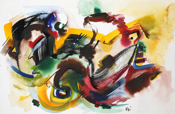 Untitled, Watercolor on Classic Watercolor paper abstract painting by Fariya Zaeem (23 x 15 in)