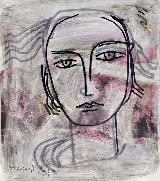 Untitled 1998, Pen & chemical on paper, portrait painting by Mansur Aye (12 x 10 in)
