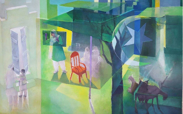 I Live Pakistan, Acrylic on Paper figurative painting by Masood A Khan (40 x 60 in)