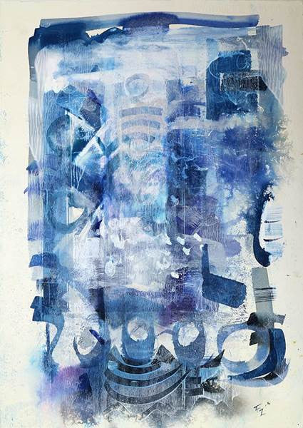 Untitled, Mixed Media on Classic Watercolor paper abstract painting by Fariya Zaeem (22 x 15 in)