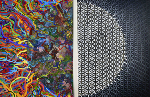 Two halves of the Moon, Acrylic on Wasli abstract painting by Sana Arjumand (41 x 26 in)