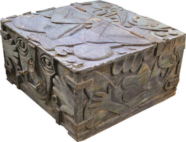 Untitled carved wooden boxes sculpture by Akram Dost