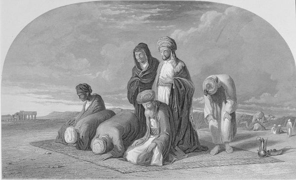 Steel Lithograph of 18th Century - Prayer in the middle of the desert (10 x 6 in)