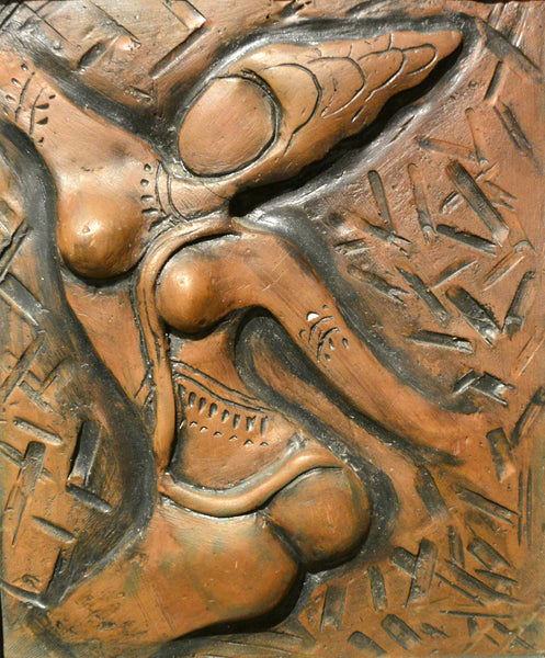 Dancing Girl, figurative relief by Samina Arjumand