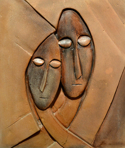 Just Married, figurative relief by Samina Arjumand