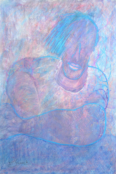 A client in - waiting, oil pastels on paper, figurative painting by Arjumand Faisel (21 x 14 in)