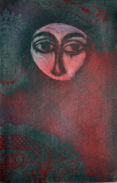 Untitled, oil on paper figurative painting by Akram Dost (14 x 9 in)