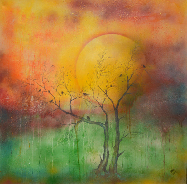 Untitled, oil on canvas landscape painting by Sobia Tassaduq
