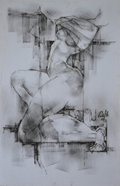 Untitled, figurative painting by Mansur Rahi (36 x 24 in)