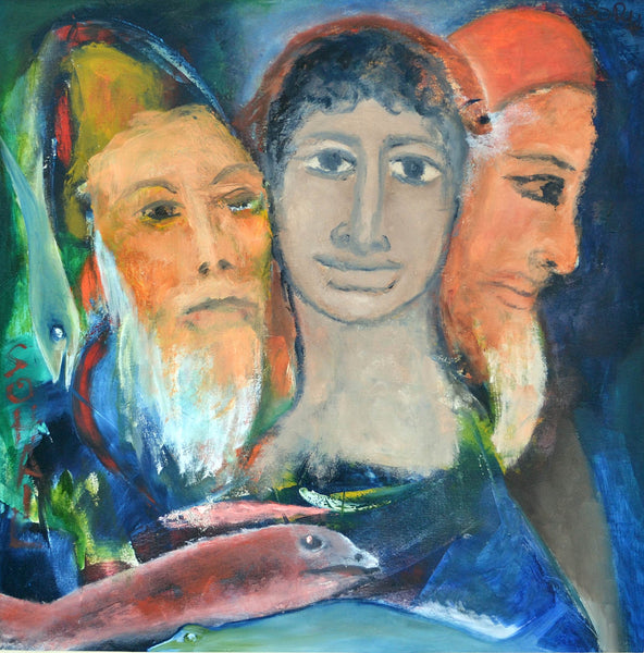 Untitled, oil on canvas figurative painting by Tassaduq Sohail and Riaz Rafi (24 x 24 in)