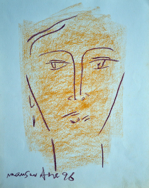 Untitled, oil pastel on paper, portrait sketch by Mansur Aye