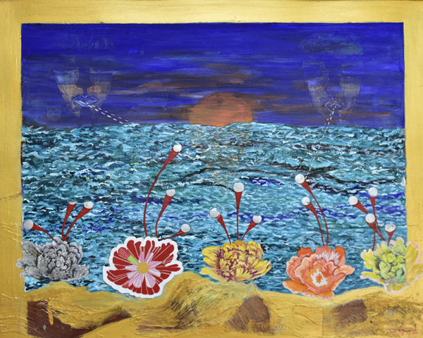 Flowers around the dead sea, Acrylic on board figurative by Sana Arjumand (39 x 31 in)