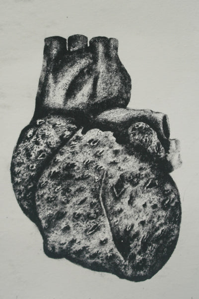 The Heart, Etching and aquatint on paper abstract print by Mudassira Khan (8 x 6 in)