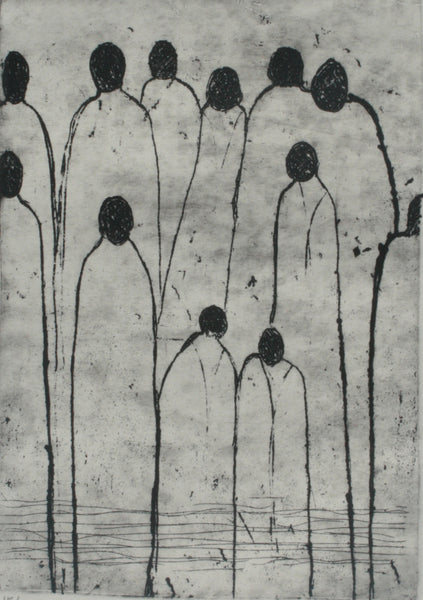 Untitled, Etching on paper figurative print by Riffat Alvi (8 x 6 in)